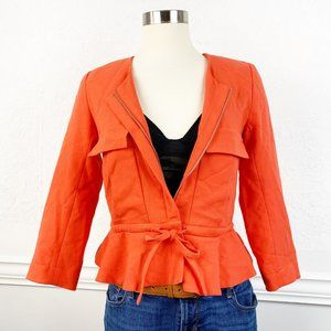 Asos Cropped peplum Jacket Tie Waist Size Small S